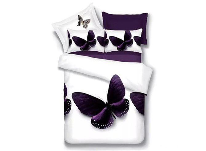 Excellent Charming Butterfly Print 4-Piece 3D Polyester Duvet Cover Sets