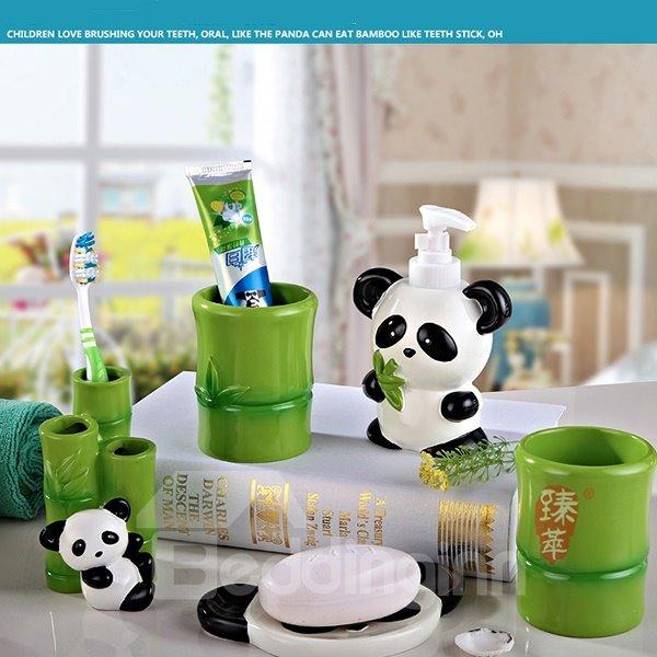 Creative Cartoon Panda Pattern Five Pieces Bathroom Accessories