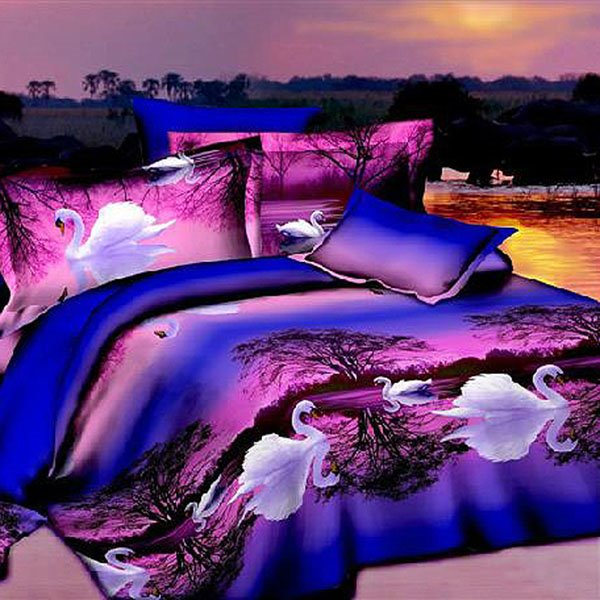 Graceful White Swan Purple Cotton 2-Piece Dark Blue Pillow Cases