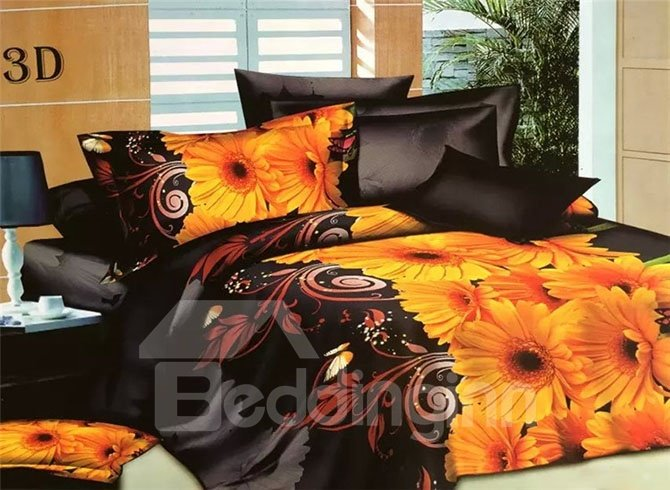 Luxurious Yellow Flowers Design 4-Piece 3D Polyester Duvet Cover Sets