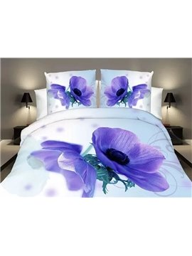 Excellent Mystic Blue Flower 4-Piece 3D Polyester Duvet Cover Sets