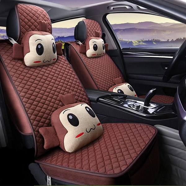 Funny And Cute Cartoon Figure Plain Grided Universal Car Set Covers
