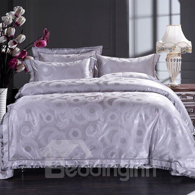 Noble Violet 4-Piece Jacquard Bamboo Fabric Bedding Set