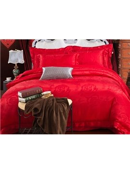 Bright Red Romantic Big Flowers Jacquard 4-Piece Bamboo Fabric Bedding Set