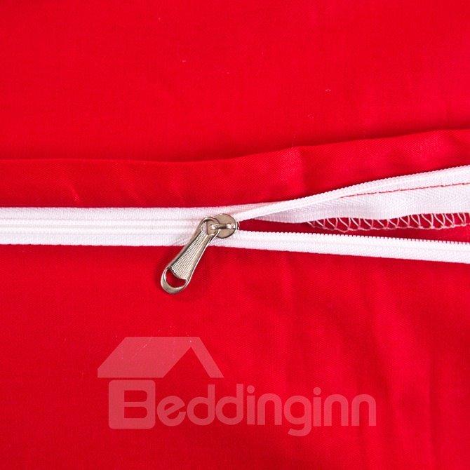 Bright Red Romantic Big Flowers Jacquard 4-Piece Bamboo Fabric Bedding Set