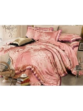 Graceful Cameo Brown Retro Big Flowers Jacquard 4-piece Bamboo Fabric Bedding Set