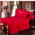 Romantic Bright Red Roses Jacquard 4-Piece Bamboo Fabric Bedding Set