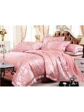 Dreamlike Cameo Brown Jacquard 4-Piece Bamboo Fabric Bedding Set
