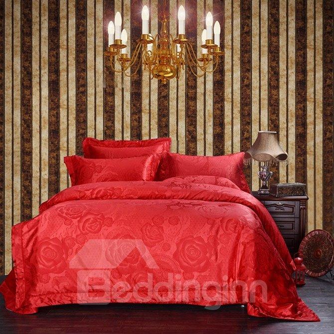Bright Red Romantic Big Roses Jacquard 4-Piece Bamboo Fabric Bedding Set