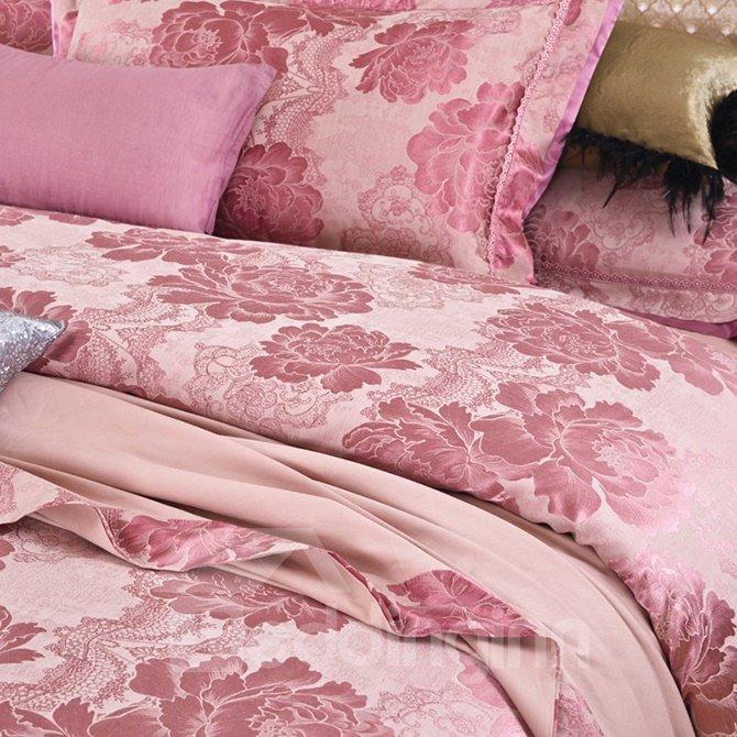 Cameo Brown Soft Big Flowers Jacquard 4-Piece Bamboo Fabric Bedding Set