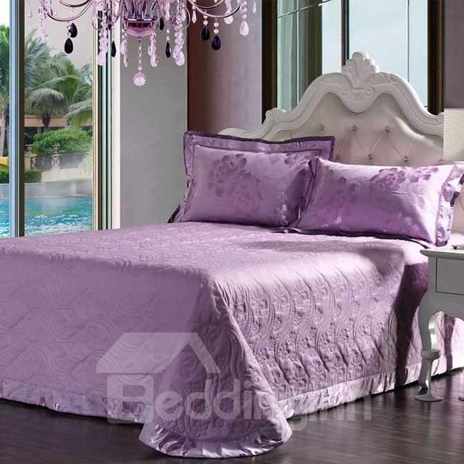 Graceful Lilac Big Flowers Jacquard 4-Piece Bamboo Fabric Bedding Set
