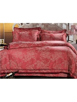 Elegant Vector Flowers Red Jacquard 4-Piece Bamboo Fabric Bedding Set
