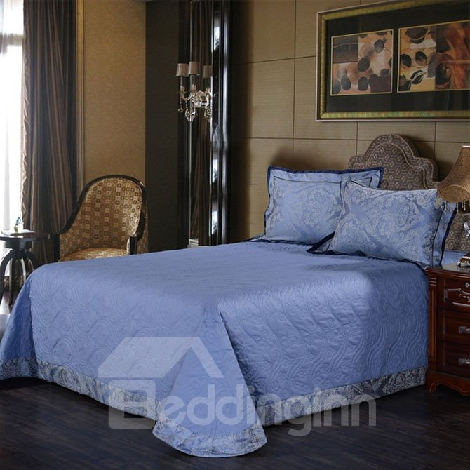 Noble Courtly Style Blue Jacquard 4-Piece Bamboo Fabric Bedding Set
