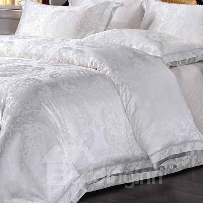 Concise White Jacquard 4-Piece Bamboo Fabric Bedding Set