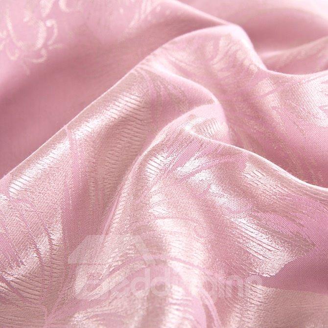 Elegant Dove Grey Lily Jacquard 4-Piece Bamboo Fabric Bedding Set