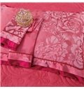 Vintage Big Flowers Pale Red Jacquard 4-Piece Bamboo Fabric Bedding Set