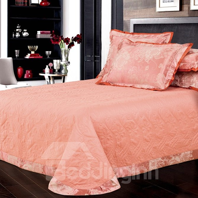 Gorgeous Big Flowers Light Tan Jacquard 4-Piece Bamboo Fabric Bedding Set