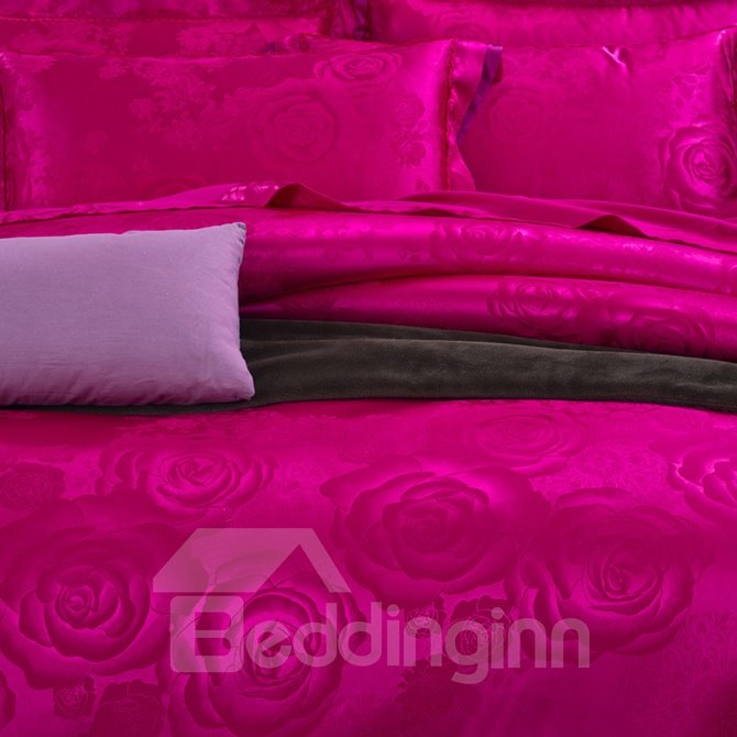 Romantic Rose Red Big Roses Jacquard 4-Piece Bamboo Fabric Bedding Set