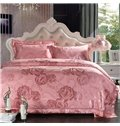 Gorgeous Pink Retro Big Flowers Jacquard 4-Piece Bamboo Fabric Bedding Set