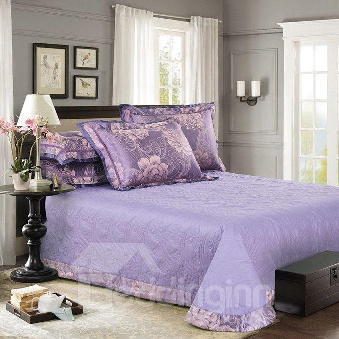 Graceful Purple Big Flowers Jacquard 4-Piece Bamboo Fabric Bedding Set