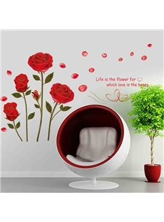 Romantic Roses Wall Stickers for Living Room Decoration