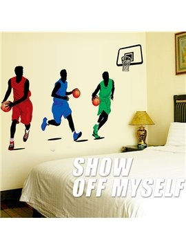 Creative Simple Style Basketball Players Pattern Wall Sticker
