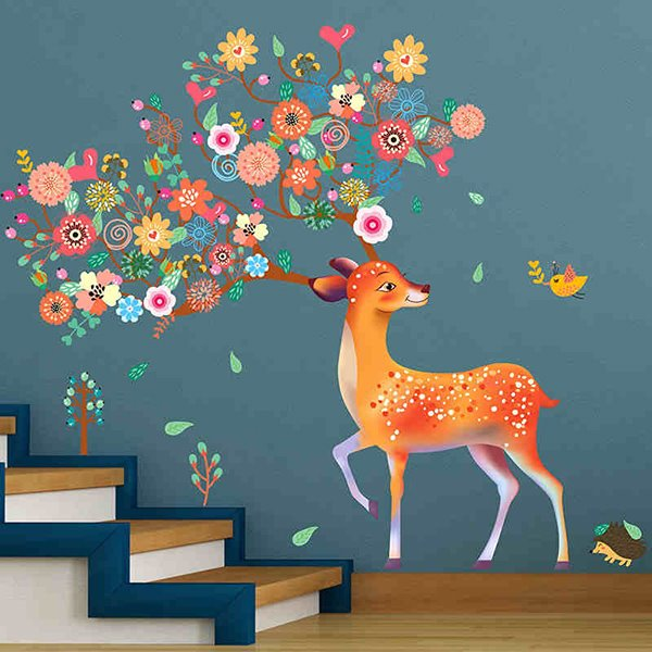 Amusing Floral Deer Pattern Home Decorative Wall Stickers