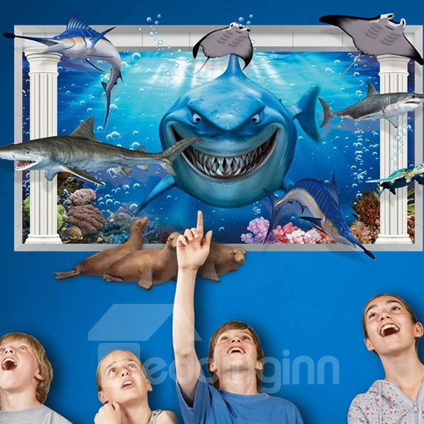 Creative Shark 3D three-dimensional Wall Stickers