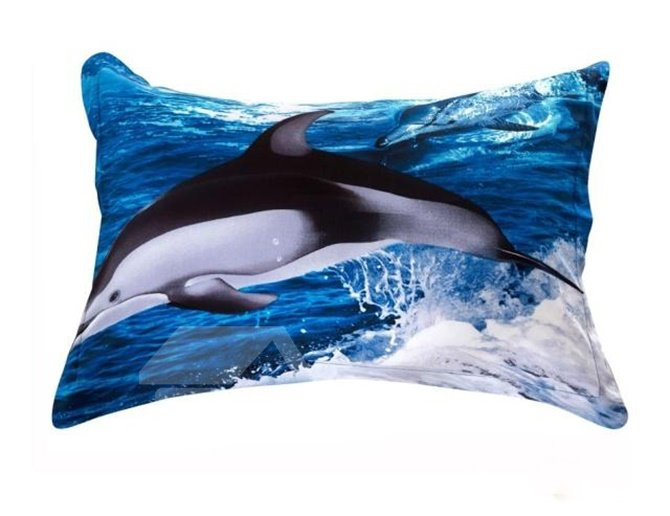 Gorgeous Jumping Dolphin Reactive Printing 4-Piece Cotton Duvet Cover Sets