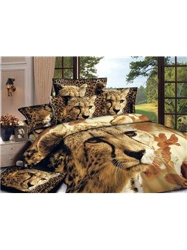 Chic Style Lovely Leopard Print 4-Piece Cotton Duvet Cover Sets