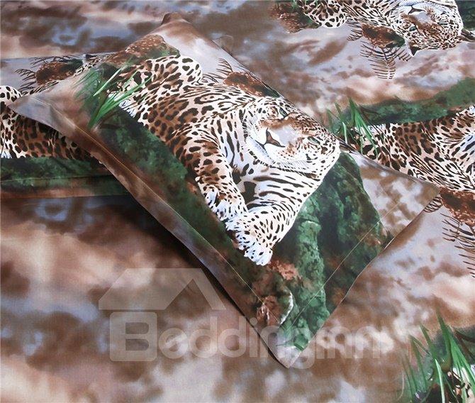 Modern Style Wonderful Leopard Print 4-Piece Cotton Duvet Cover Sets