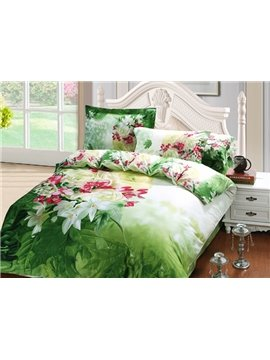 Fresh Style Charming Flowers Print 4-Piece 100% Cotton Duvet Cover Sets