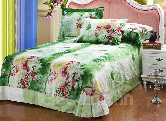 Fresh Style Charming Flowers Print 4-Piece 100% Cotton Duvet Cover Sets