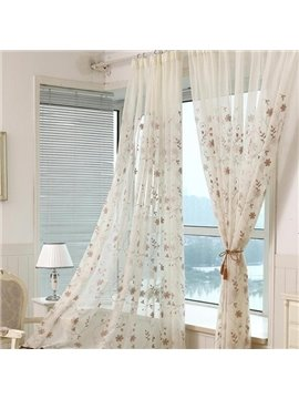 Embroidery Vine Pattern Cotton Custom Sheer Curtain