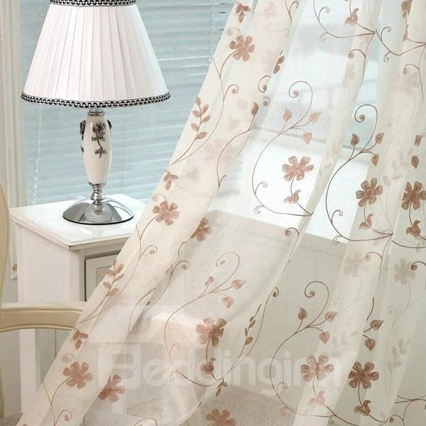 Embroidery Vine Pattern Cotton Custom Sheer Curtain