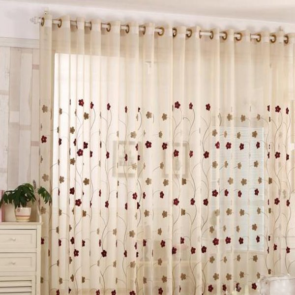 Decorative Polyester White Sheer and Small Flowers Embroidered 2 Panels Custom Sheer Curtain
