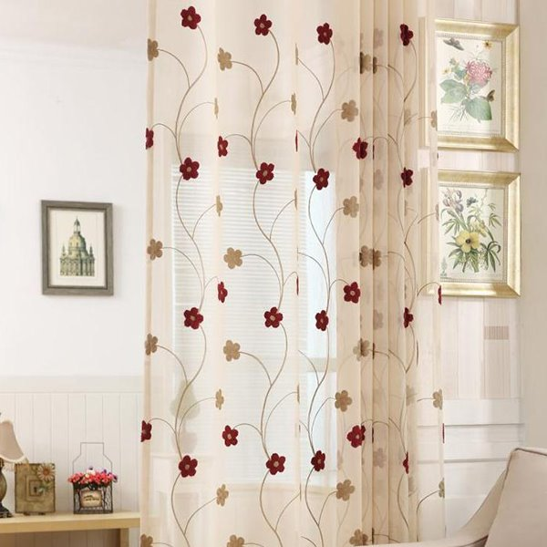 Concise Embroid Floral Pattern Custom Sheer Curtain