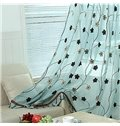 Concise Blue Sun Flowers Pattern Custom Sheer Curtain
