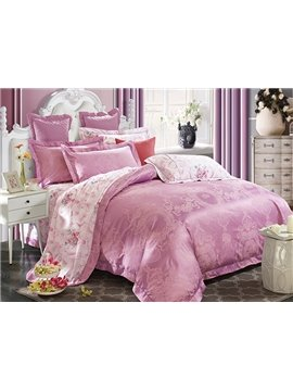 Lilac Big Peonies Crown Jacquard 4-Piece Bamboo Fabric Bedding Set