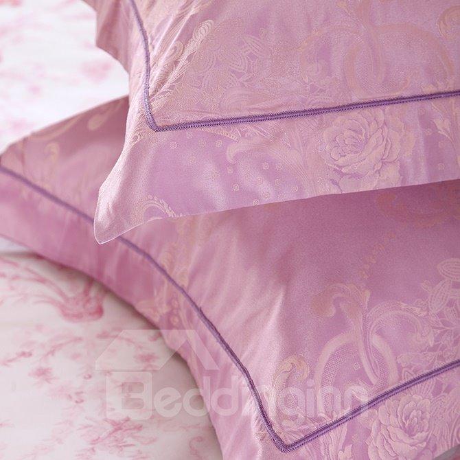 Lilac Big Peonies Crown Jacquard 4-Piece Bamboo Fabric Bedding Set
