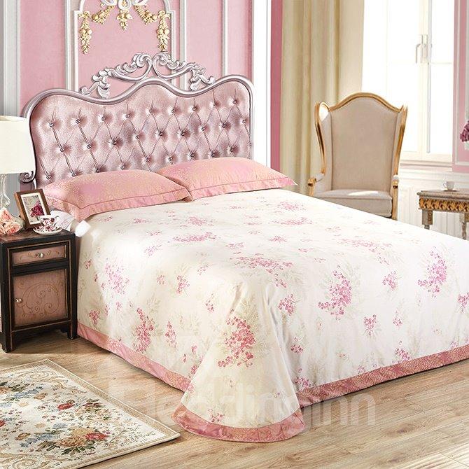 Floral Pattern Pink Jacquard 4-Piece Bamboo Fabric Bedding Set