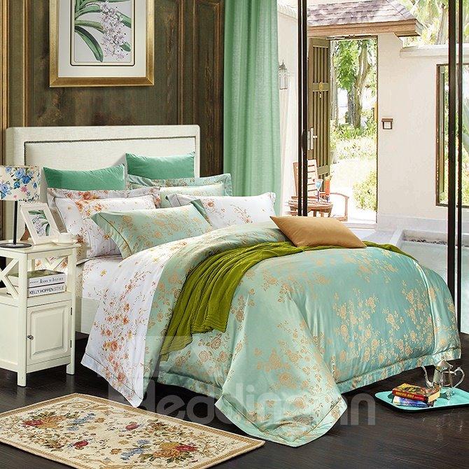 Fresh Floral Pattern Green Jacquard 4-Piece Bamboo Fabric Bedding Set