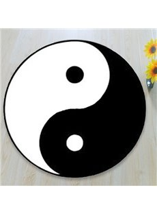 Characteristic Black and White Chinese Yinyang Pattern Rug