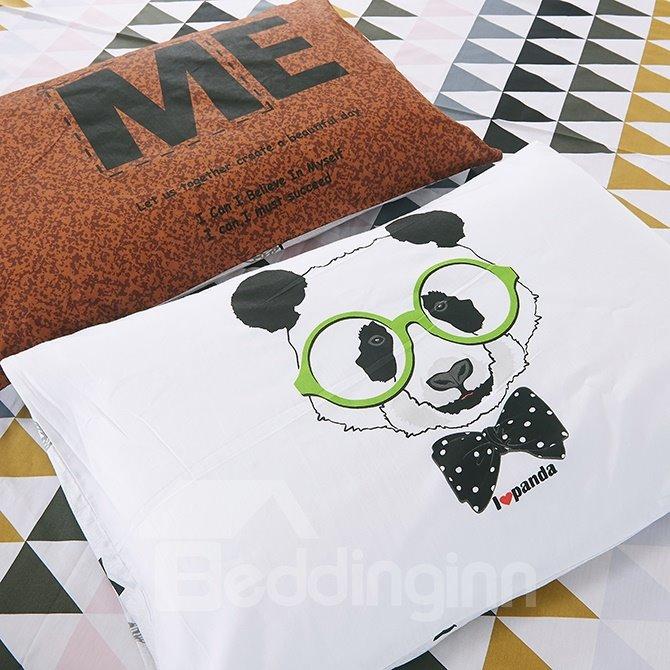 Lovely Cartoon Bear Print White Cotton 4-Piece Bedding Sets/Duvet Cover