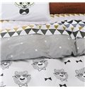 Fabulous Lovely Cartoon Bear Print 4-Piece Cotton Duvet Cover Sets