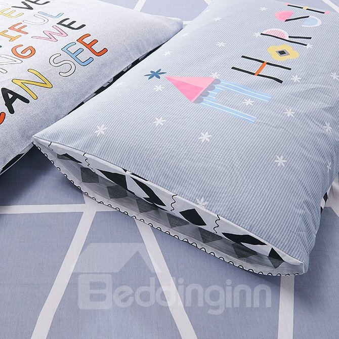 New Arrival Concise Classical Rhombus and Triangle Cotton 4-Piece Duvet Cover