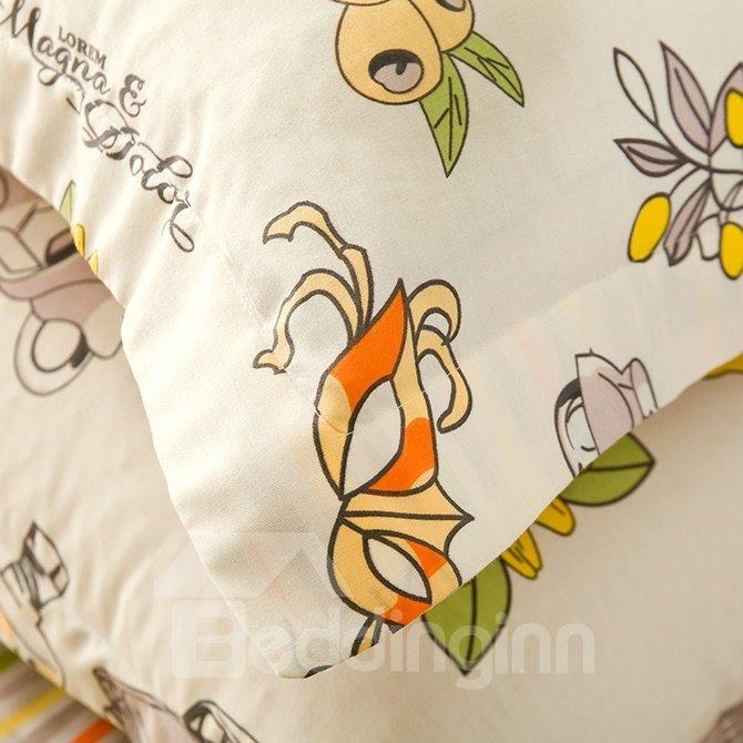 Full Size Cartoon Figures Light Yellow Cotton 4-Piece Bedding Sets/Duvet Cover