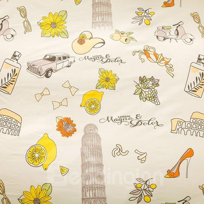 Special Design Stick Figure Cotton 4-Piece Duvet Cover