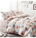Pastoral Style Beautiful Flowers Print 4-Piece Cotton Duvet Cover Sets