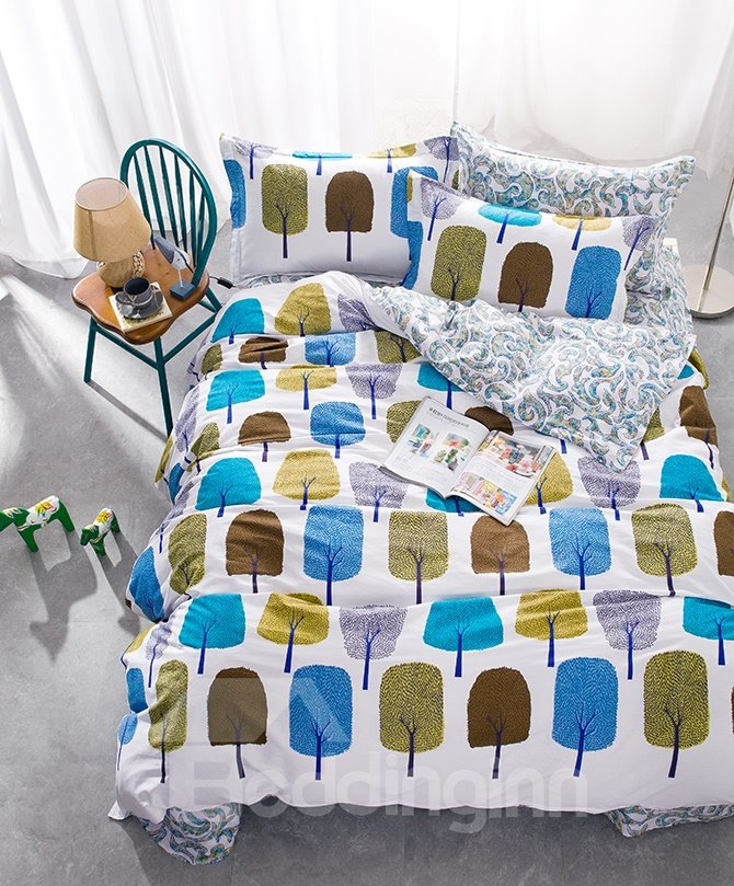 Fashion Colorful Tree Print 4-Piece Cotton Duvet Cover Sets